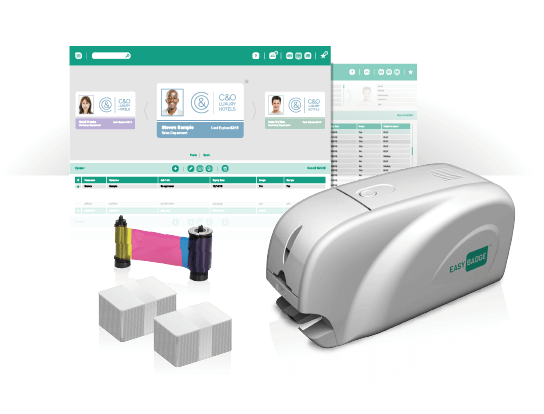 The EasyBadge System includes an ID Printer, Easybadge Software, 200 cards and a ribbon that can print 200 cards